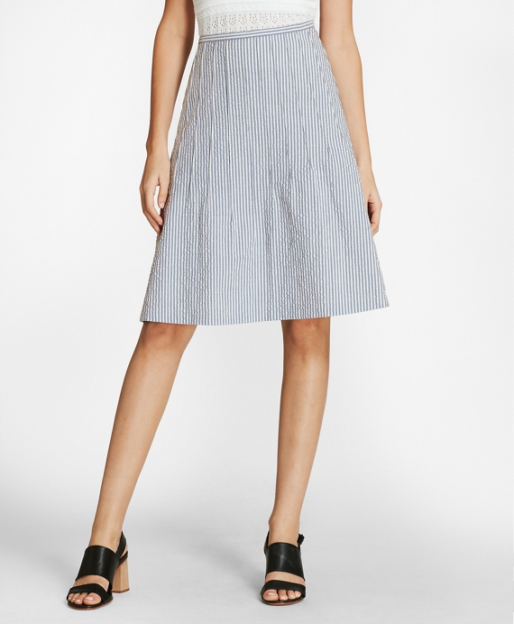 Striped Stretch Cotton Seersucker Skirt Blue-White