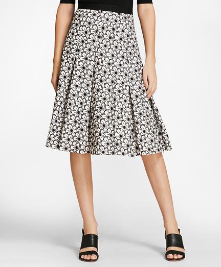 Floral Eyelet Cotton Godet Skirt