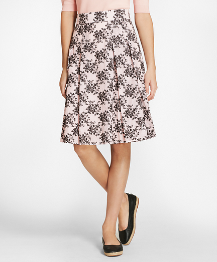 Floral-Embroidered Striped Cotton-Silk Jacquard Pleated Skirt
