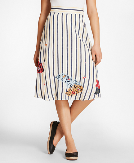 Floral-Embroidered Striped Linen Skirt