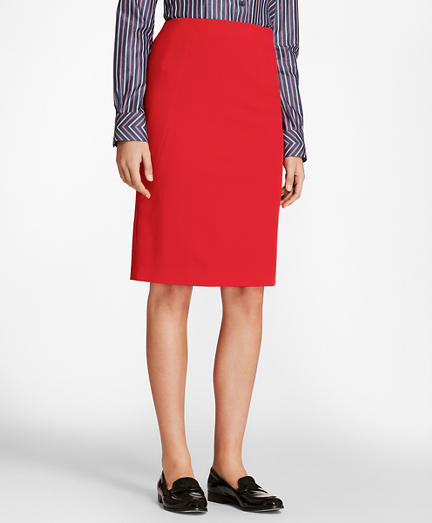 Stretch-Wool Twill Pencil Skirt