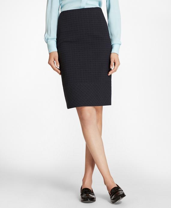 Plaid Stretch Cotton Jacquard Pencil Skirt Navy