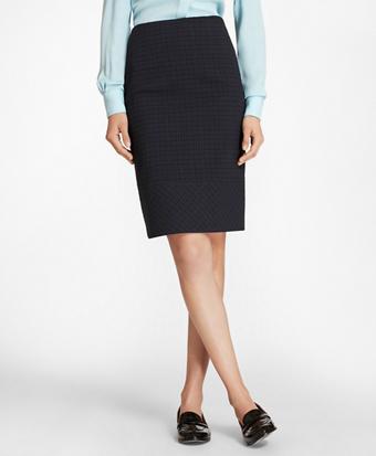 Plaid Stretch Cotton Jacquard Pencil Skirt