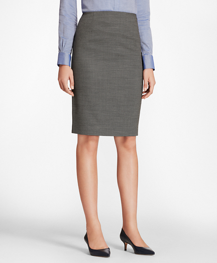 Bird's-Eye Stretch-Wool Pencil Skirt