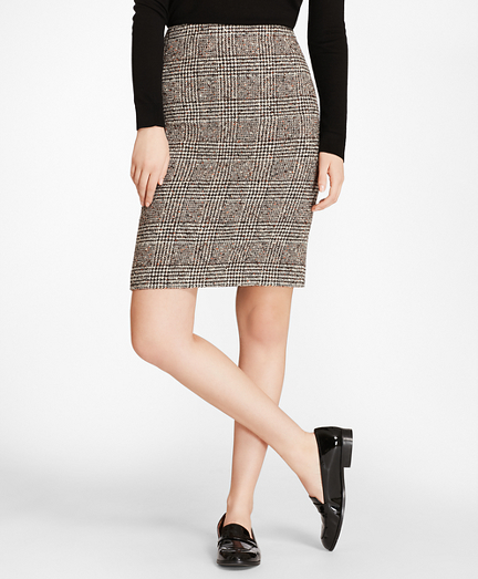 Glen Plaid Tweed Pencil Skirt
