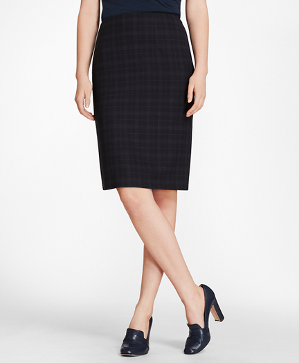 Plaid BrooksCool® Merino Wool Pencil Skirt