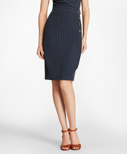 Pinstripe Faux-Wrap Slim Skirt