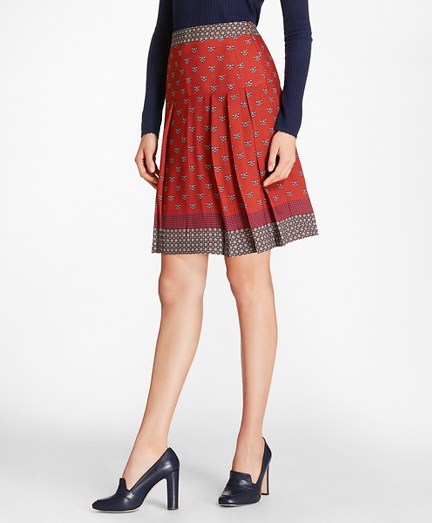 Foulard Silk Georgette Pleated Skirt