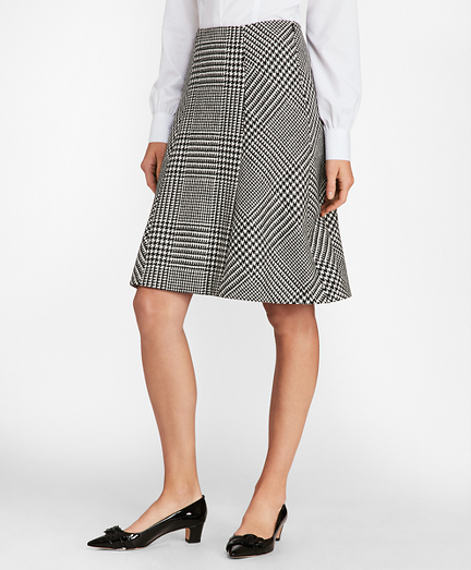 Glen Plaid Wool Twill A-Line Skirt