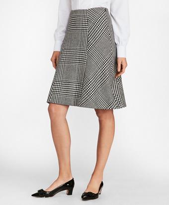 Glen Plaid Wool Twill A-Line Skirt