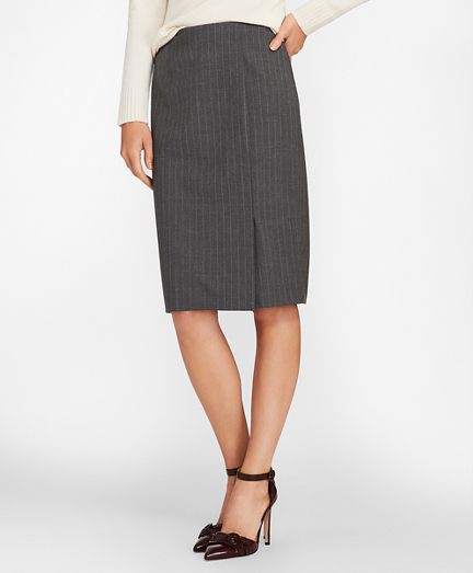 Pinstripe Stretch Wool Faux Wrap Skirt