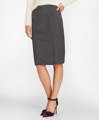 Pinstripe Stretch Wool Faux Wrap Skirt