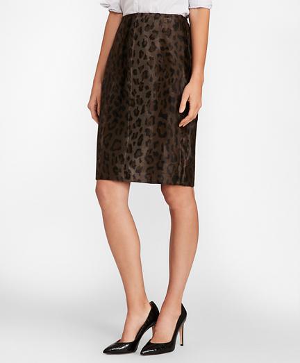 Leopard-Print Velvet Pencil Skirt