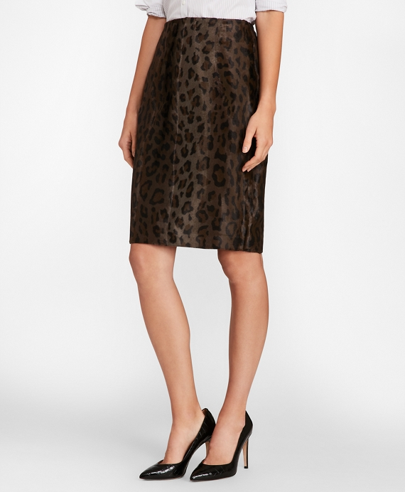 Leopard-Print Velvet Pencil Skirt Brown