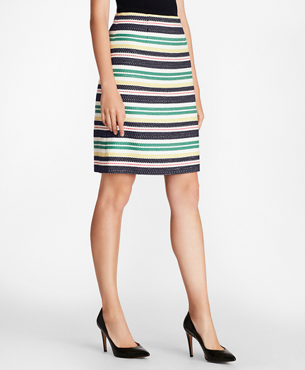 Striped Cotton Tweed A-Line Skirt