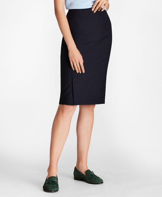 Checked Wool Pencil Skirt Navy