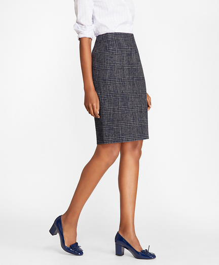 Plaid Tweed Pencil Skirt