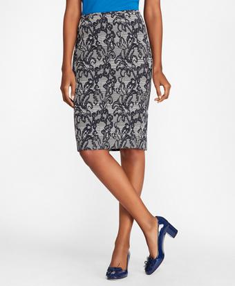 Floral Glen Plaid Jacquard Pencil Skirt