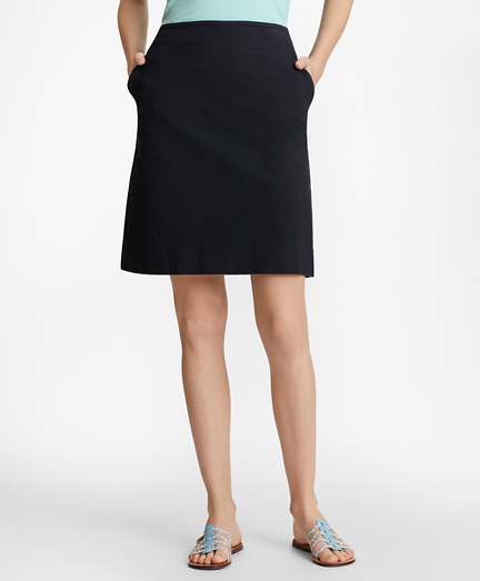 Stretch-Cotton Jacquard A-Line Skirt