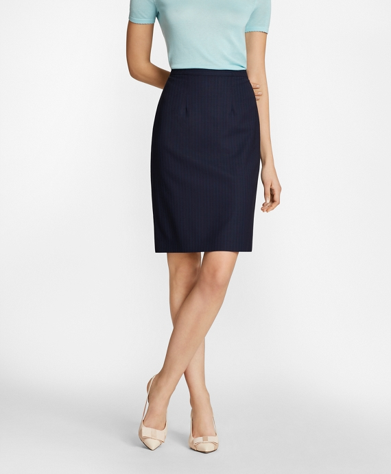 Pinstripe BrooksCool® Merino Wool Pencil Skirt Navy