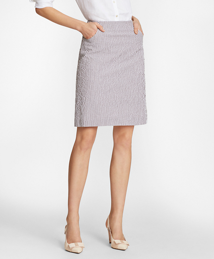 Stretch-Cotton Seersucker A-Line Skirt