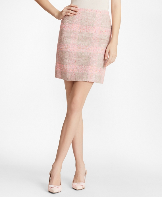 Checked Boucle Skirt Pink-Multi
