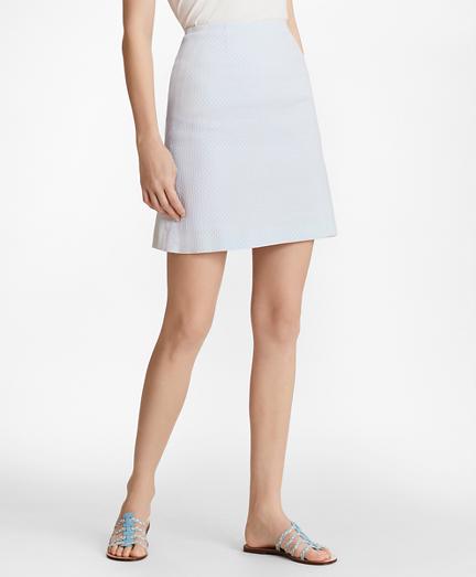 Polka-Dot Jacquard A-Line Skirt