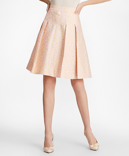 Floral Jacquard Pleated Skirt