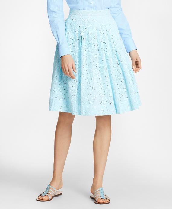 Cotton Eyelet Pleated Skirt Aqua