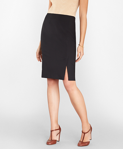 Checked BrooksCool® Merino Wool Pencil Skirt