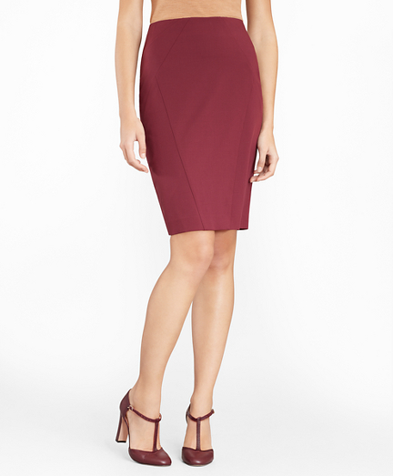 Stretch Wool Twill Pencil Skirt