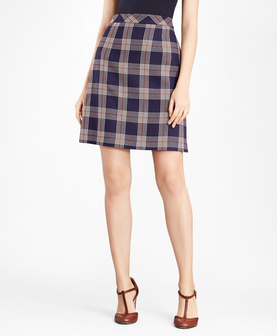 Plaid A-Line Skirt Navy