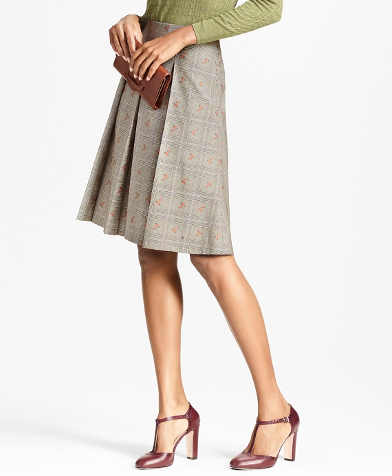 Floral Glen Plaid Wool-Cotton Pleated Skirt Grey