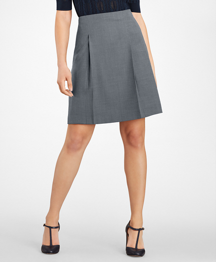 Bird's-Eye Stretch-Wool Pleated Skirt