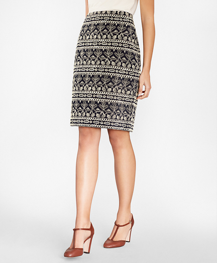 Embroidered Cotton Corduroy Pencil Skirt