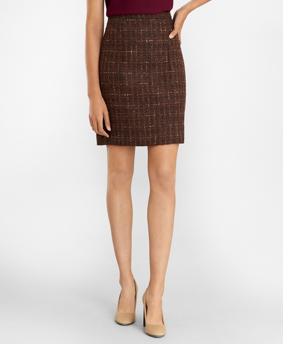 Checked Boucle Tweed A-Line Skirt Brown