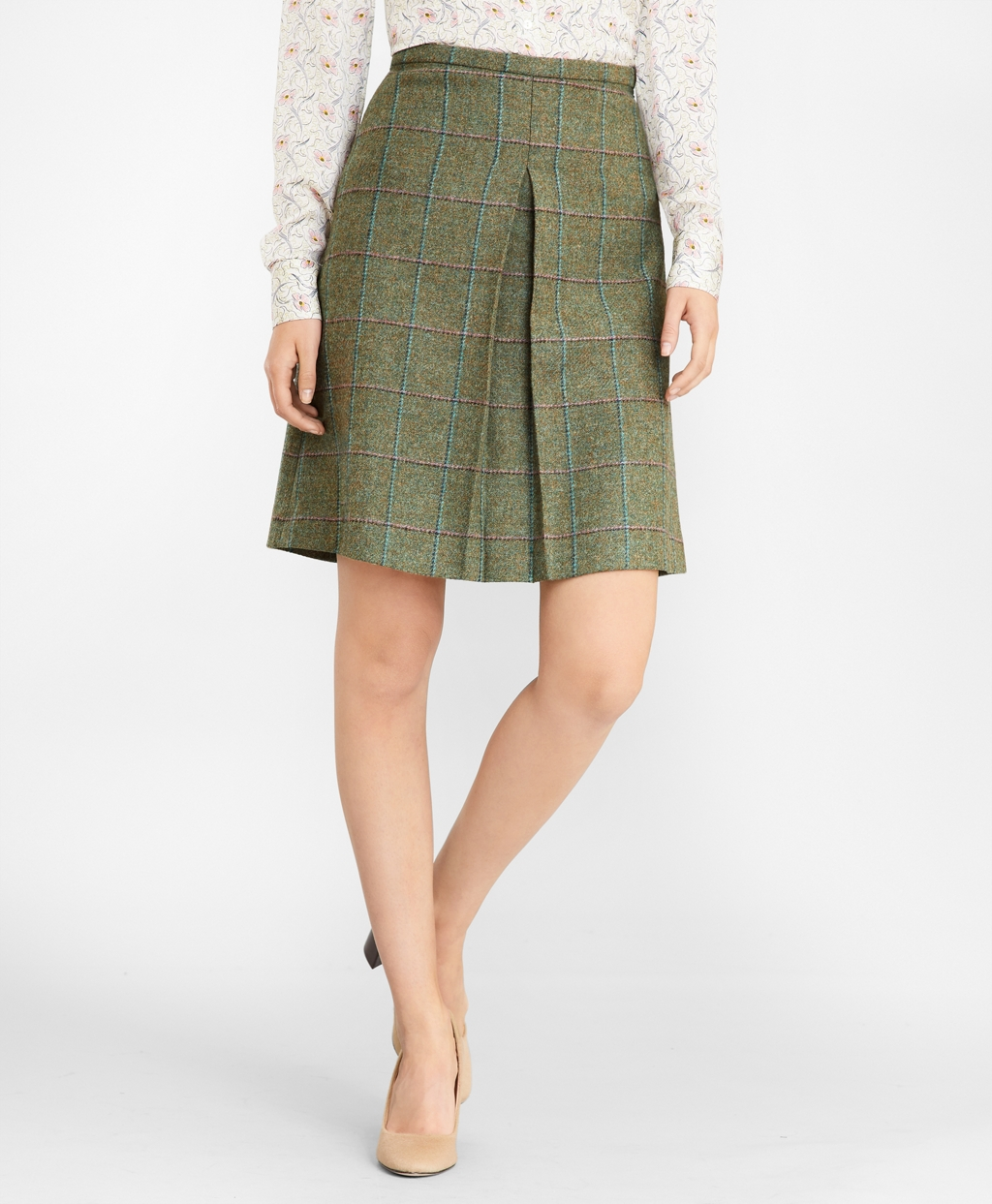 1940s Style Skirts- Vintage High Waisted Skirts Brooks Brothers Womens Checked Wool Tweed Skirt $208.60 AT vintagedancer.com