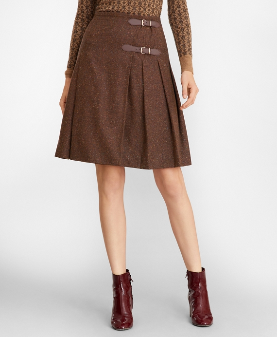 Stretch Wool-Silk Tweed Kilt Brown