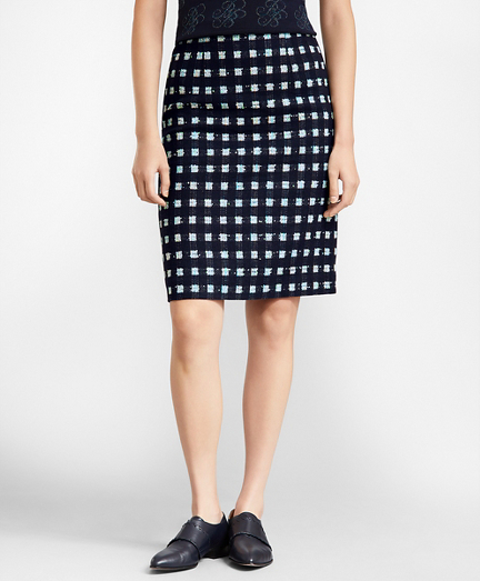 Checked Boucle A-Line Skirt
