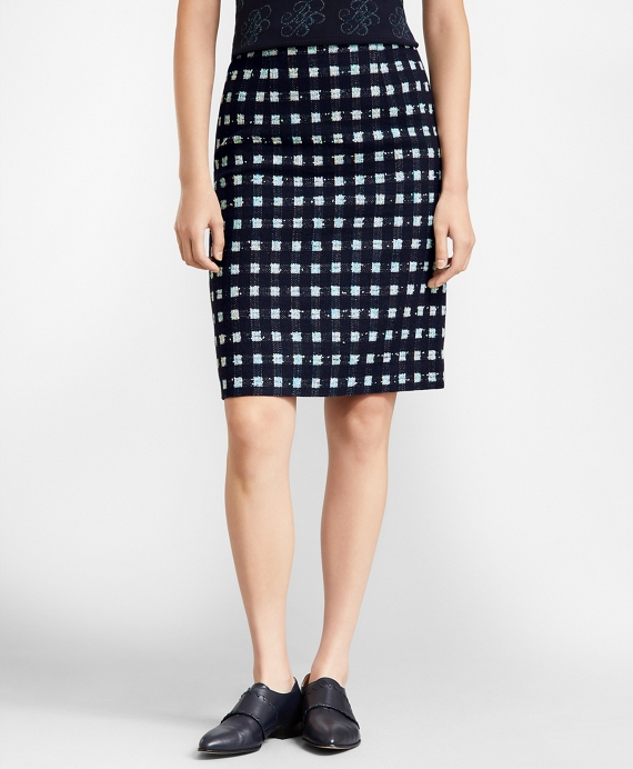 Checked Boucle A-Line Skirt Navy-Multi