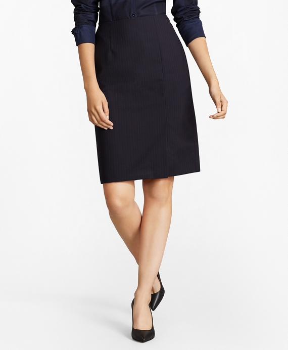 Pinstripe Stretch Wool Pencil Skirt Navy