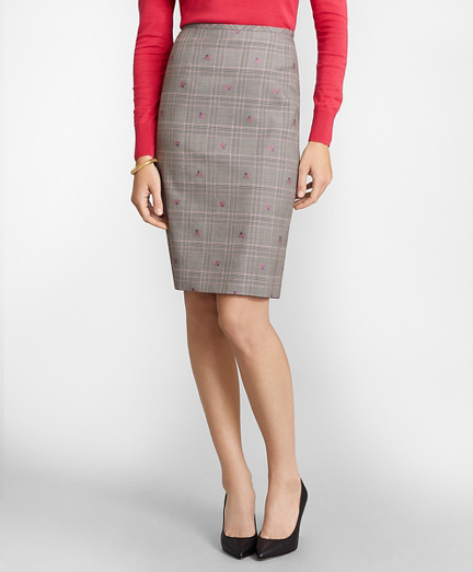 Floral Plaid Jacquard Pencil Skirt