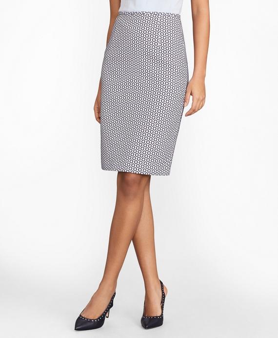 Floral Jacquard Pencil Skirt Navy