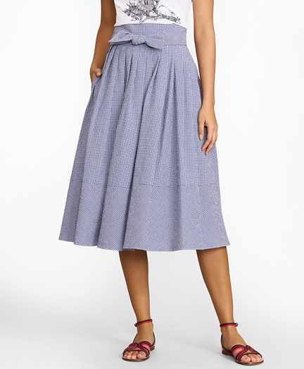 Gingham Seersucker Pleated Skirt