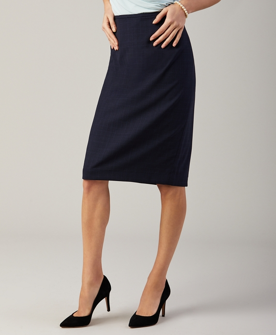 Prince of Wales Plaid BrooksCool® Merino Wool Pencil Skirt Navy