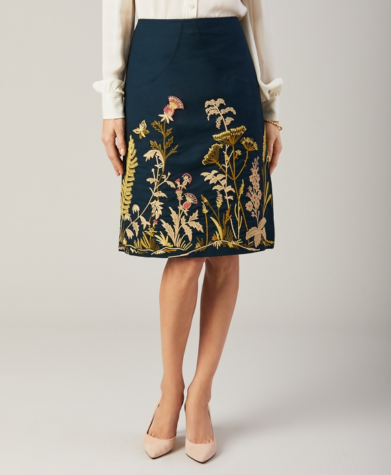 Floral-Embroidered Stretch Cotton Canvas Skirt Dark Teal