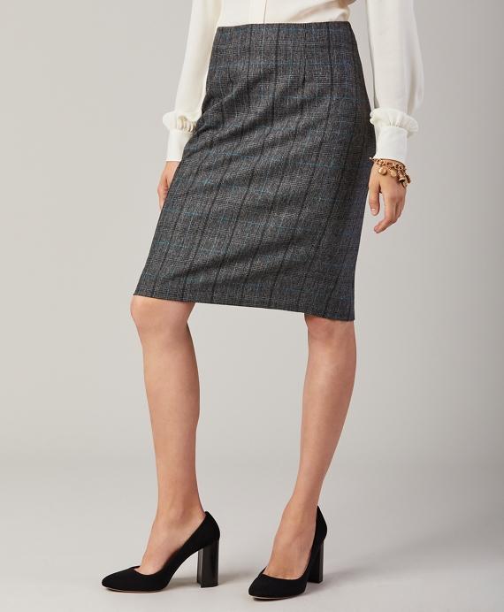 Glen Plaid Wool-Cashmere Flannel Skirt Grey