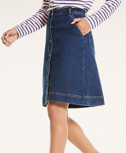 Denim Button-Front A-Line Skirt