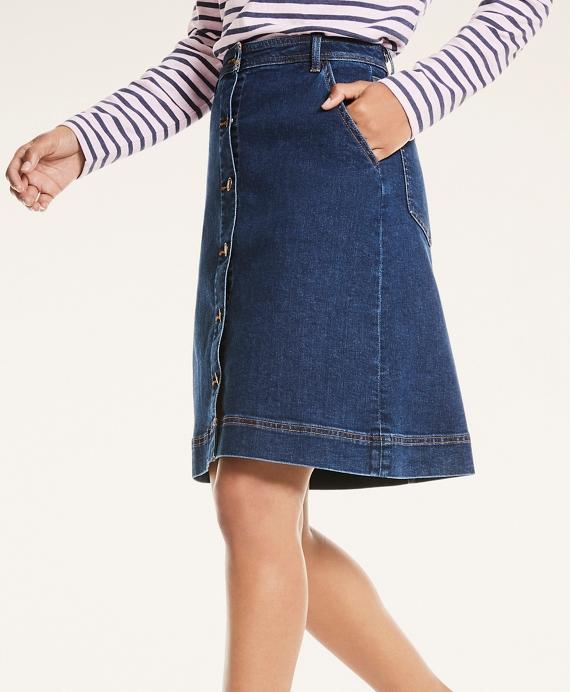 Denim Button-Front A-Line Skirt Blue
