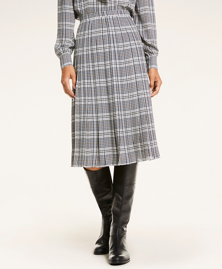 Glen Plaid Crepe Midi Skirt